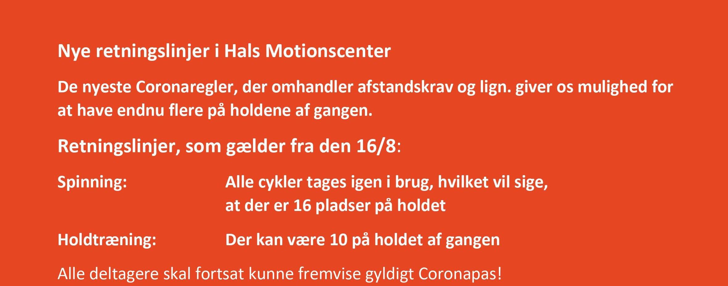 Nye retningslinjer i Hals Motionscenter