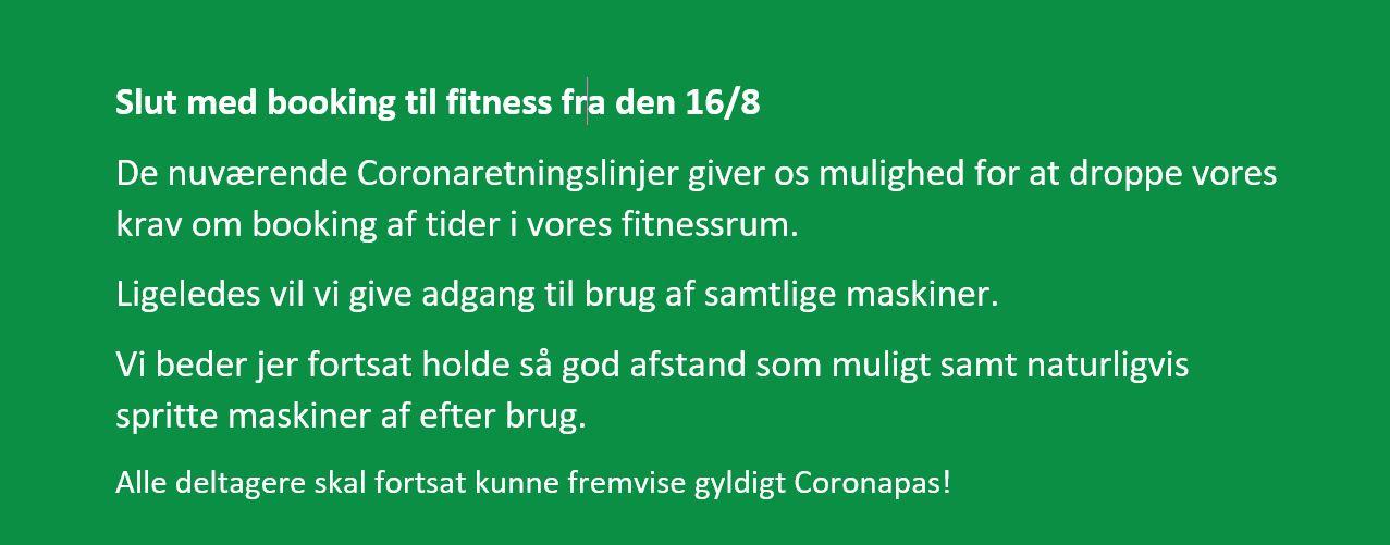 Slut med booking til fitness